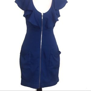 bebe Royal Blue Front Full Zip With Pockets Dress
